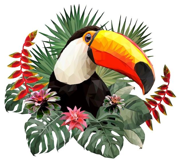 Ilustração poligonal cabeça de pássaro tucano nas folhas.