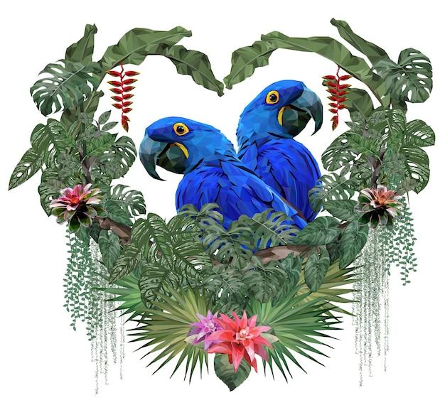 Ilustração poligonal casal pássaros de arara com conceito de amor.