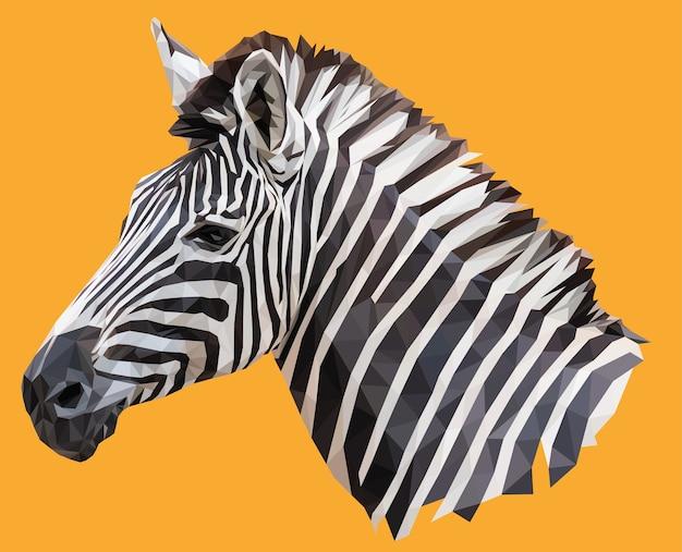 Ilustração poligonal da cabeça da zebra