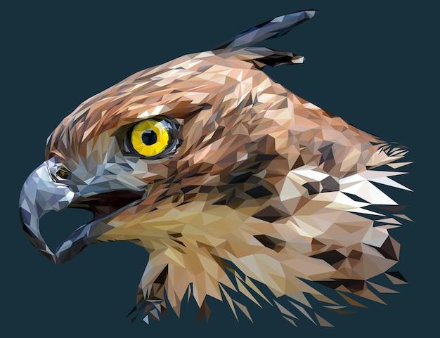 Ilustração poligonal da cabeça do hawk eagle mutável