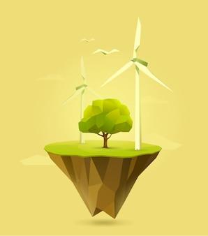 Ilustração poligonal da energia eólica