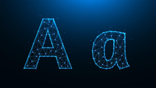 Ilustração poligonal da letra a em um fundo azul escuro.