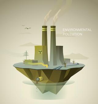 Ilustração poligonal da poluição do ar e da água