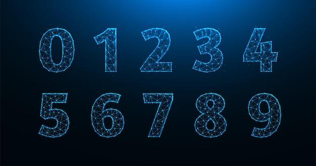 Ilustração poligonal de números de zero a nove. um conjunto de números feito de linhas e pontos.