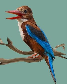 Ilustração poligonal de pássaro martim-pescador de garganta branca