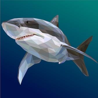 Ilustração poligonal de tubarão legal