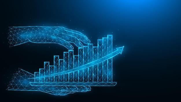 Ilustração poligonal de uma mão segurando um tablet com o holograma de um gráfico de crescimento