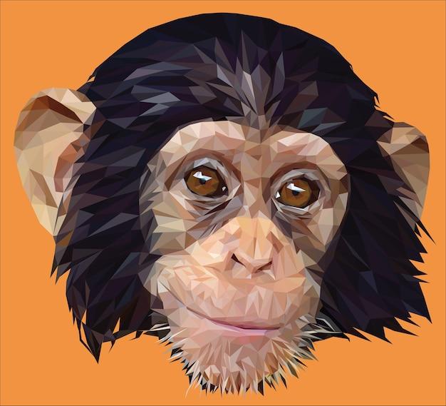 Ilustração poligonal do rosto do jovem chimpanzé.