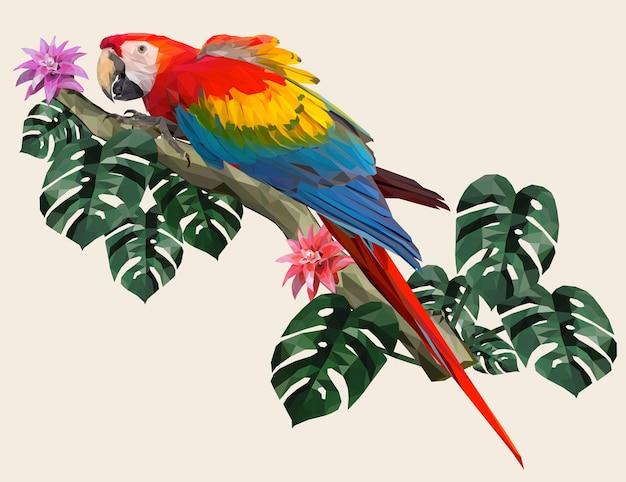 Ilustração poligonal macaw bird with amazon forest leafs.