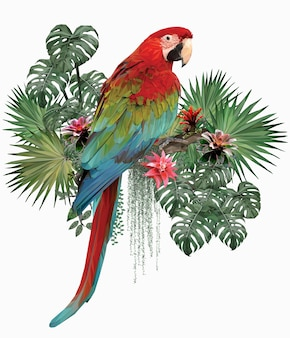 Ilustração poligonal pássaro arara alada verde com folhas de amazonas.