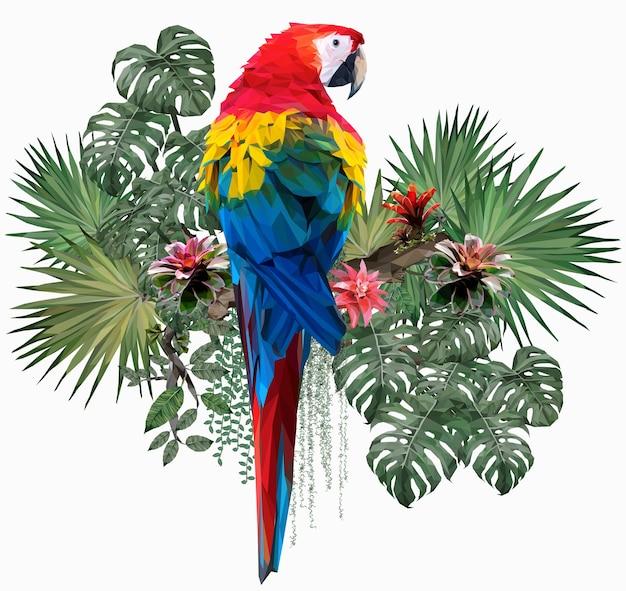 Ilustração poligonal pássaro arara-vermelha com folhas de amazonas.