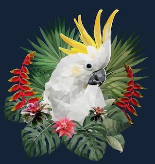 Ilustração poligonal pássaro cacatua e plantas da amazônia.