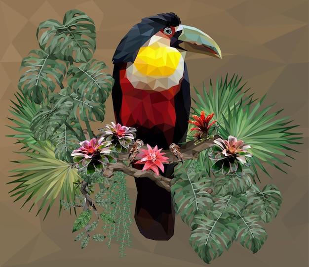 Ilustração poligonal pássaro tucano e plantas da floresta amazônica.