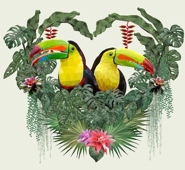 Ilustração poligonal pássaro tucano e plantas florestais da amazônia no conceito de amor.