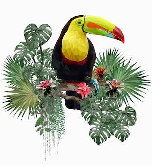 Ilustração poligonal pássaro tucano e plantas florestais da amazônia.
