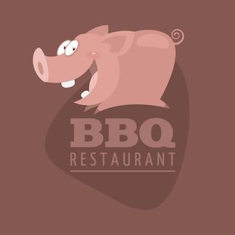 Ilustração, porco emblema de restaurantes de churrasco, formato eps 10