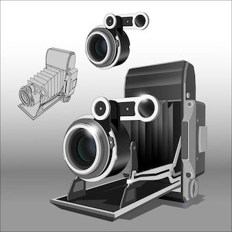 Ilustração precisa de câmera fotográfica vintage e lente separadamente