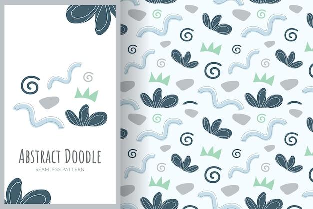 Ilustração premium do padrão do fundo do doodle do sumário da grama azul