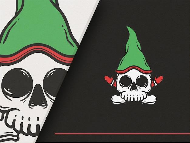 Ilustração premium do papai noel com estilo de caveira