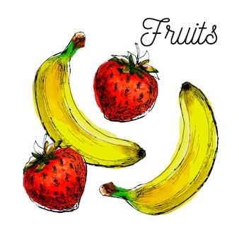 Ilustração preta de bananas e morangos frescos
