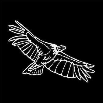 Ilustração preto e branco da águia