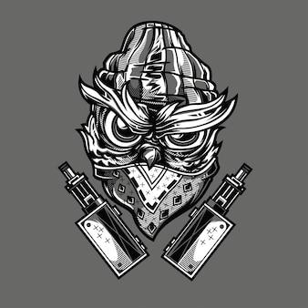 Ilustração preto e branco da coruja de gangsta