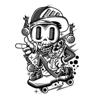Ilustração preto e branco de funy