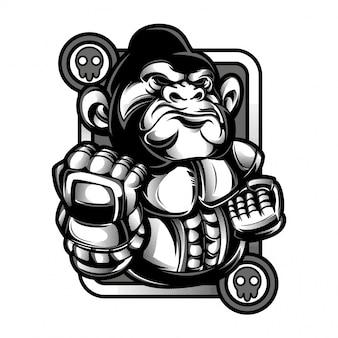 Ilustração preto e branco de macaco de boxe
