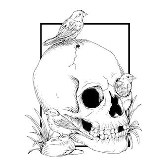 Ilustração preto e branco desenhada à mão crânio e pássaro