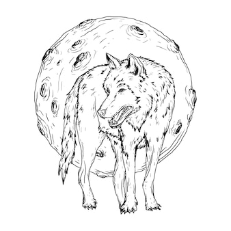 Ilustração preto e branco desenhada à mão lobo e lua