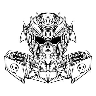 Ilustração preto e branco desenhada à mão robô crânio