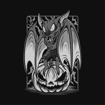 Ilustração preto e branco do diabo morcego engraçado