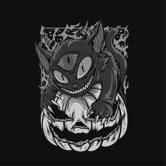 Ilustração preto e branco do diabo olhos gato halloween