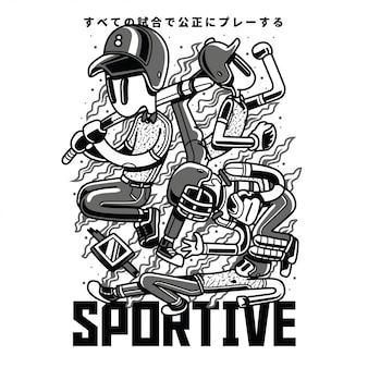Ilustração preto e branco sprotive