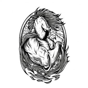 Ilustração preto e branco super espartana