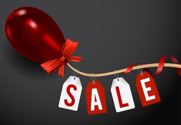 Ilustração preto modelo de banner de venda sexta-feira com balão brilhante, corda e tags de venda.