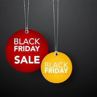 Ilustração preto sexta-feira venda etiqueta tags modelo de banner. promoção de banner.