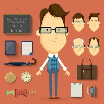 Ilustração professor com muitos elementos e artigos