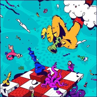 Ilustração psicodélica sobre xadrez