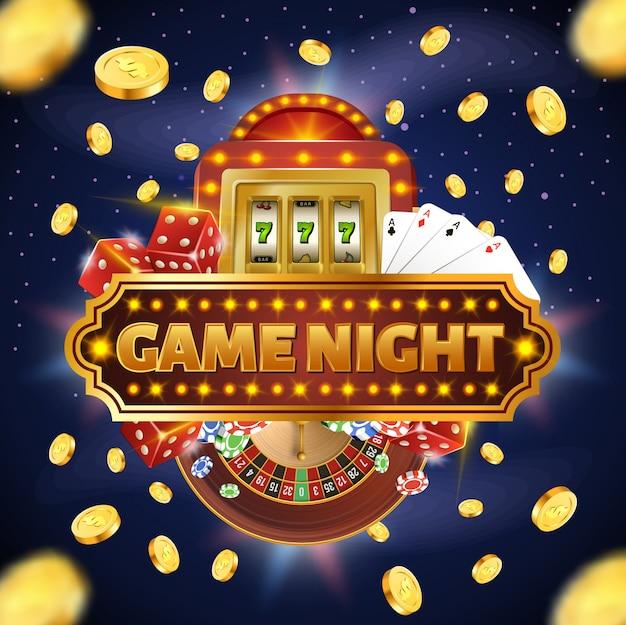 Ilustração quadrada com tipografia de noite de jogo de quatro ases