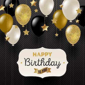Ilustração - quadro com saudação de aniversário, estrelas douradas e balões de ouro preto, branco e glitter.