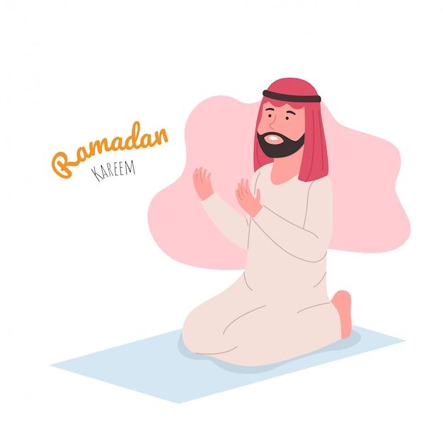 Ilustração ramadan kareem homem árabe rezando