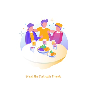 Ilustração ramadan, quebrar o jejum com os amigos