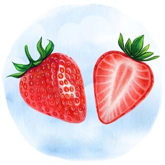 Ilustração realista aquarela meio morangos
