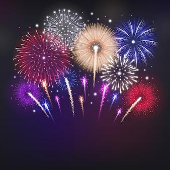 Ilustração realista com fogos de artifício coloridos brilhantes no céu escuro