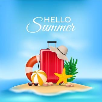 Ilustração realista com mensagem de verão olá