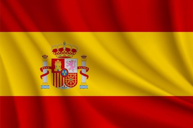 Ilustração realista da bandeira da espanha vetor da bandeira da espanha