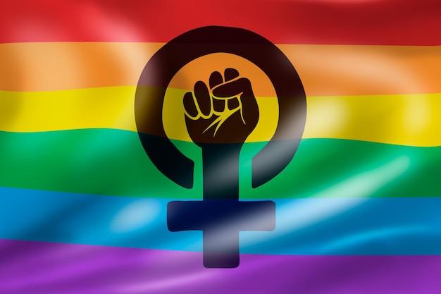Ilustração realista da bandeira feminista lgbt