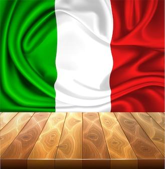 Ilustração realista da bandeira italiana em seda