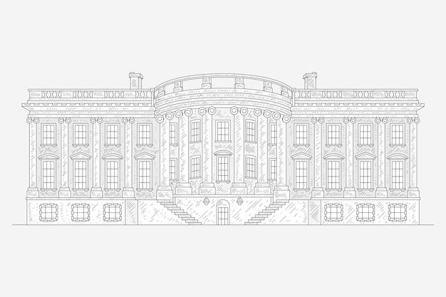 Ilustração realista da casa branca desenhada à mão
